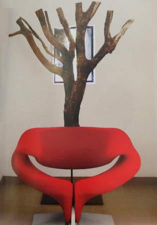 fauteuil rouge arbre Paulin ameublement
