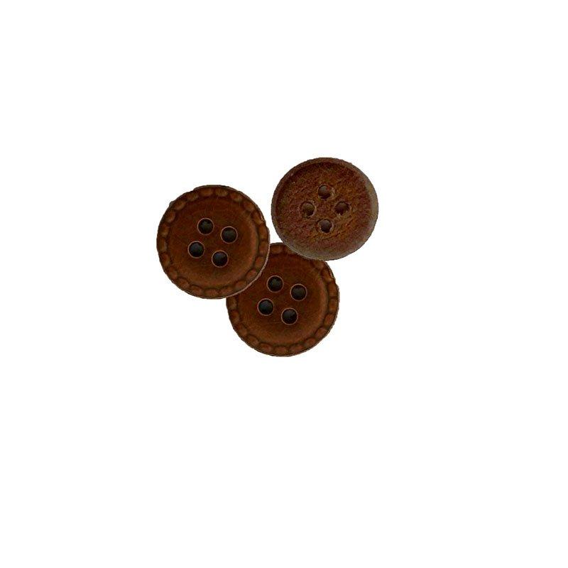 Bouton en cuir frappé à quatre trous marron