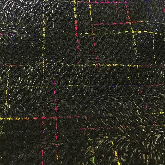 Tissu tweed noir et multicolore