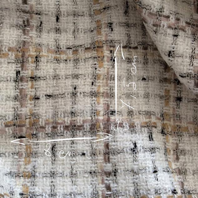 tissu tweed écru et brun