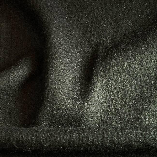 Drap de laine à poils mohair noir pour vestes, etoles