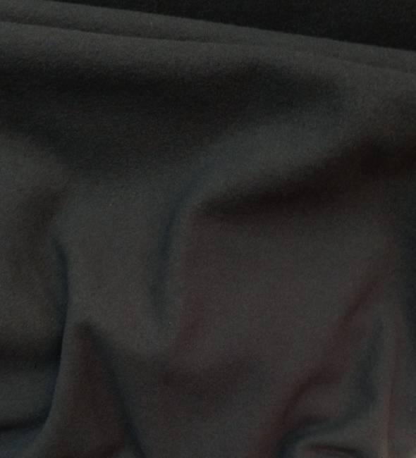 Drap de laine bouillie noir, manteau, jupe, veste