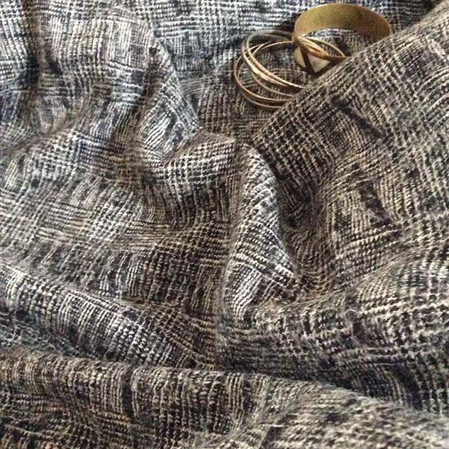 tweed noir et blanc motif
