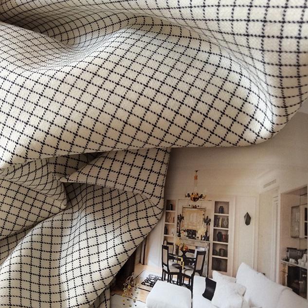 tissu à carreaux blanc et noir cardailhac