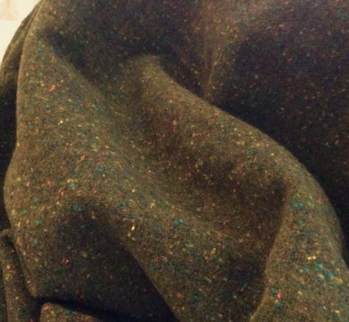 drap de laine tweed kaki foncé