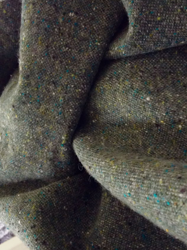 drap de laine tweed vert treillis