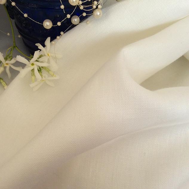 tissu satin de lin blanc