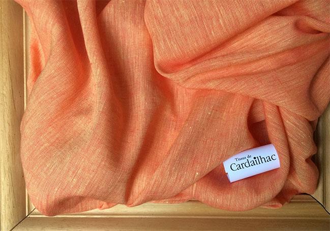tissu lin orange cardailhac