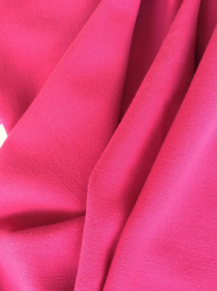 tissu crepe de laine fuchia