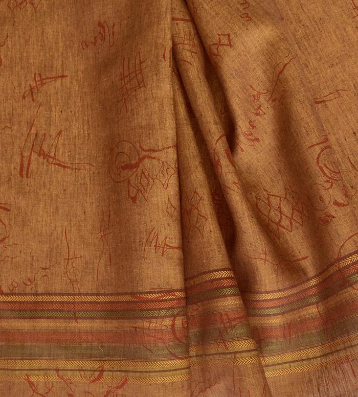 tissu lin jaune cuivre rayures bayaderes