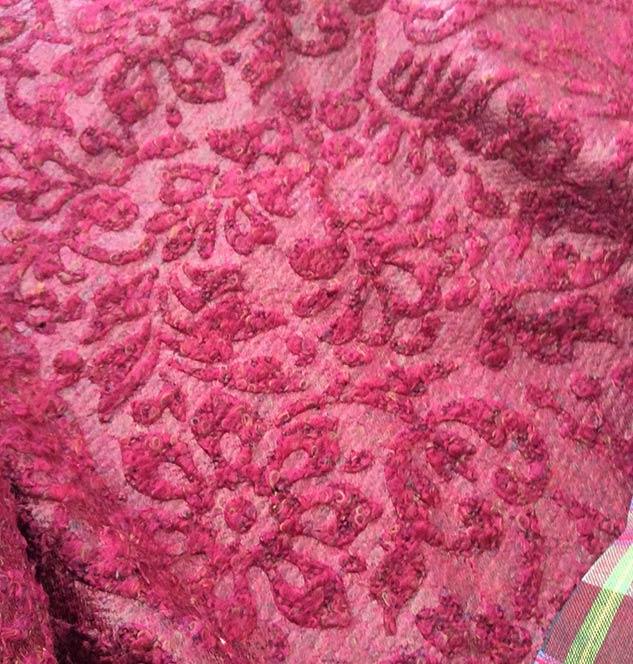 Tissu baroque framboise fantaisie