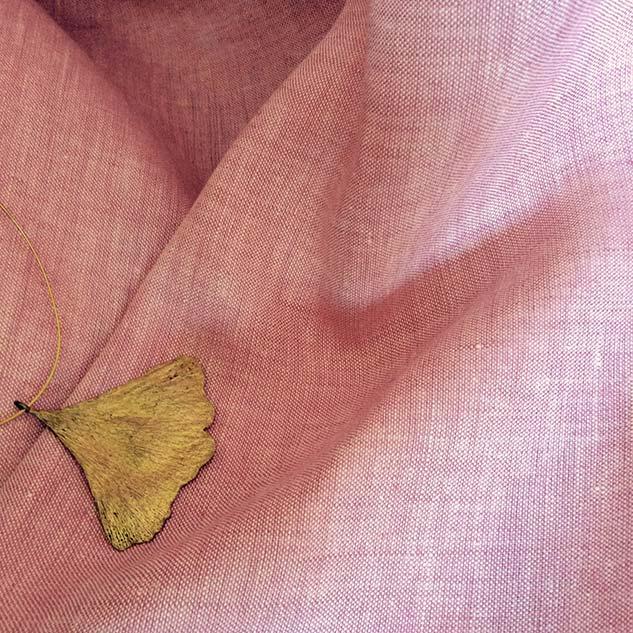 tissu en lin écru et rose