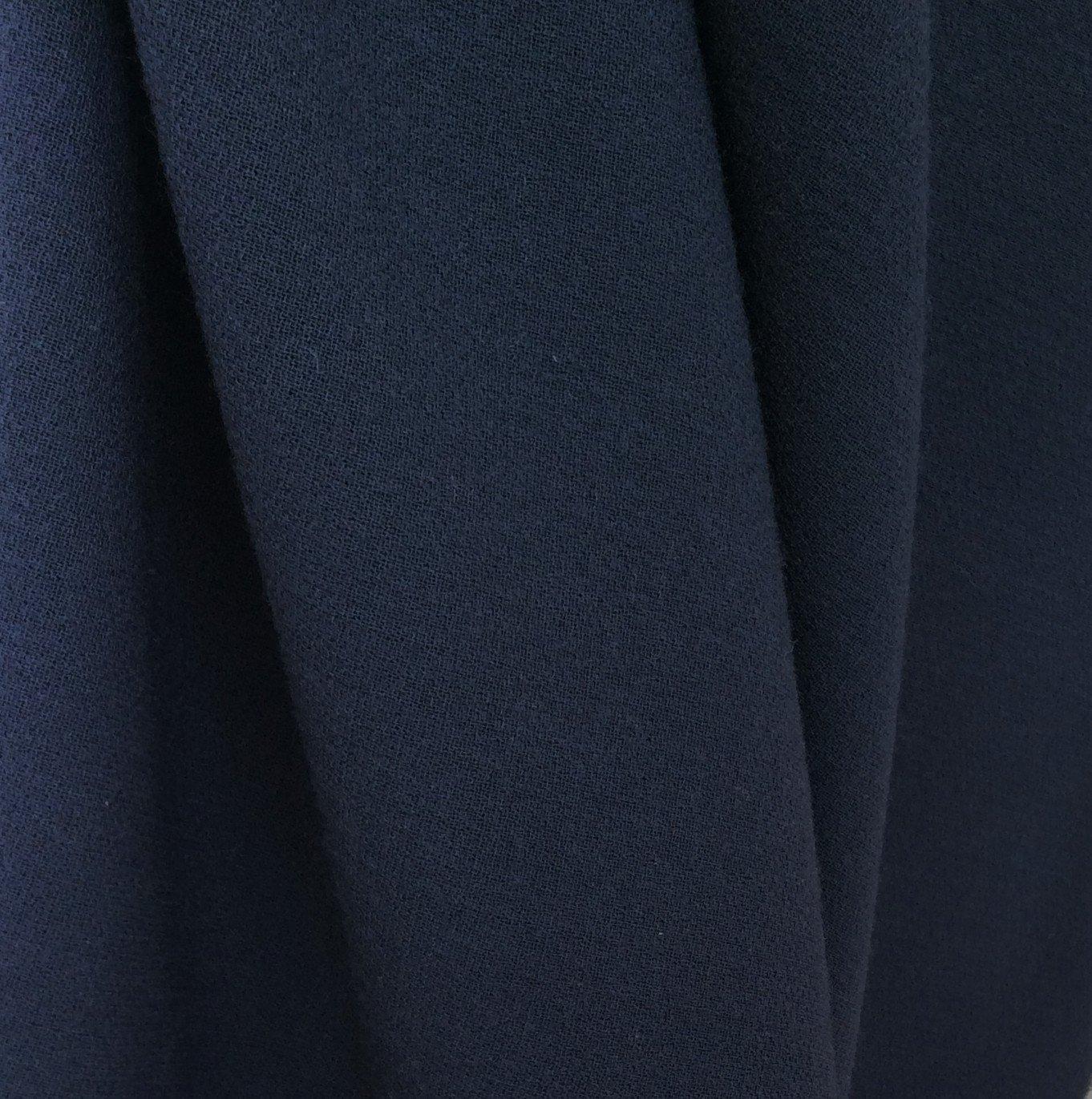 tissu crepe de laine marine fonce