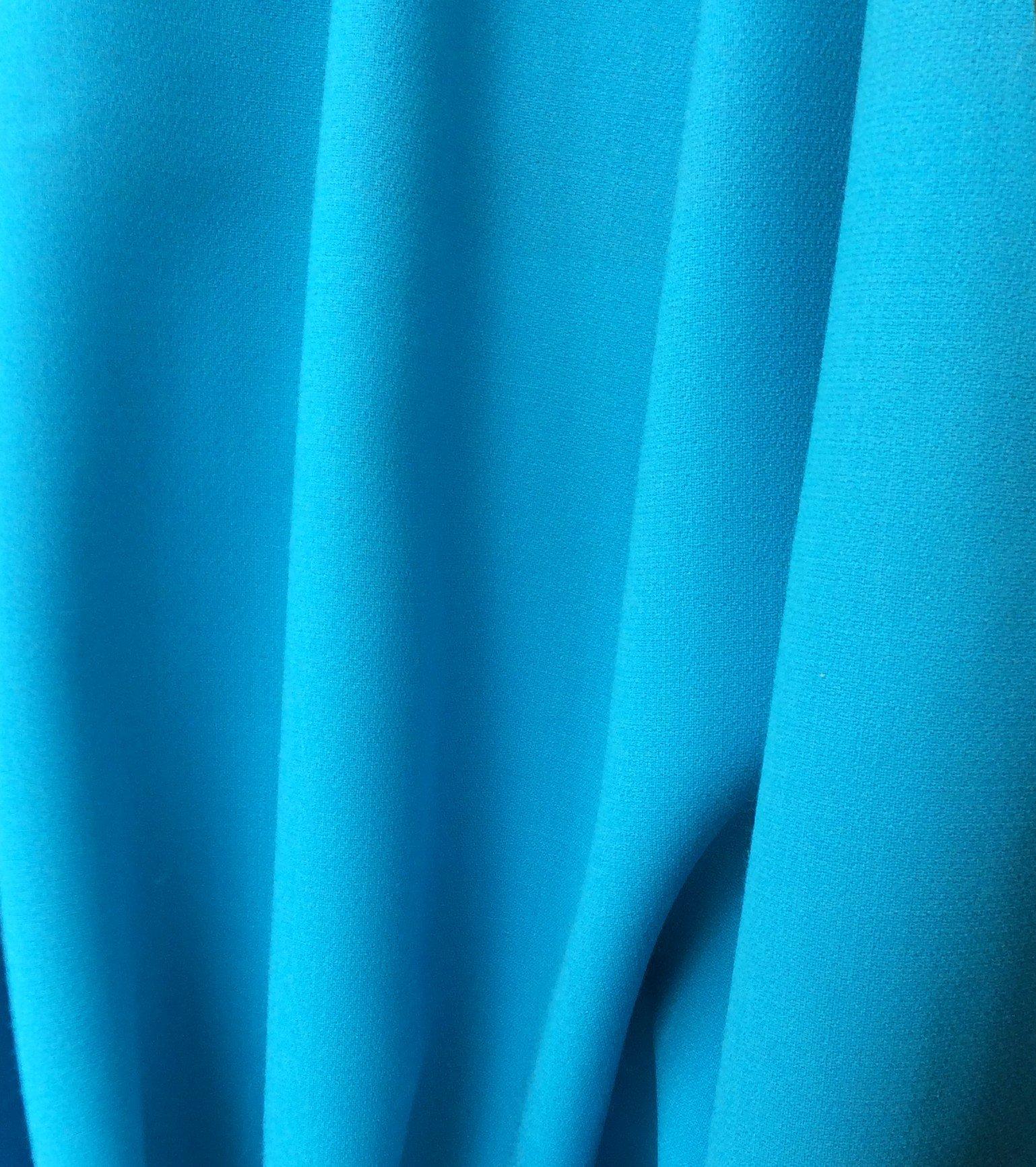 tissu crepe de laine turquoise