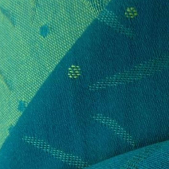 Tissu de laine satin turquoise jacquard