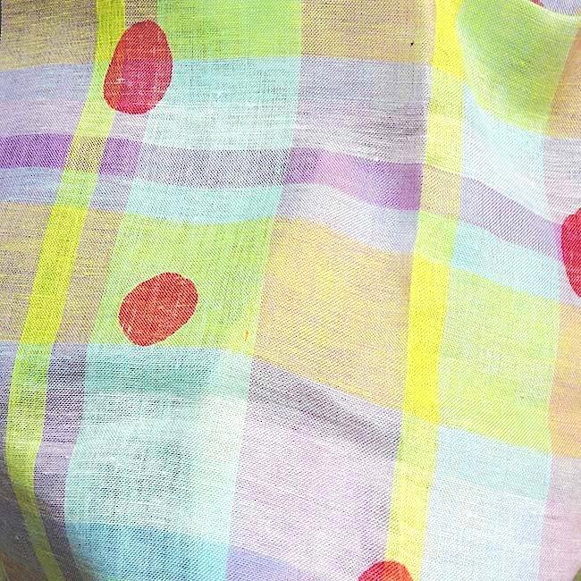 Tissu lin écossais rose imprimé japonais