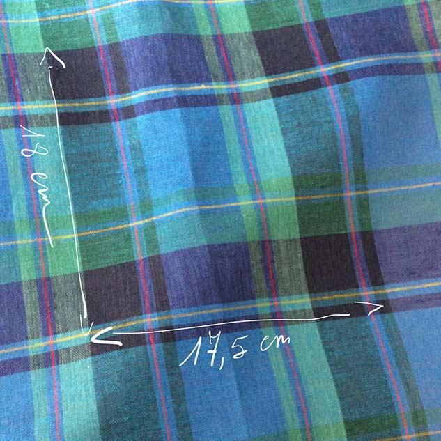 Tissus lin ecossais bleu