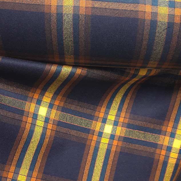 tissu écossais marine et jaune au metre