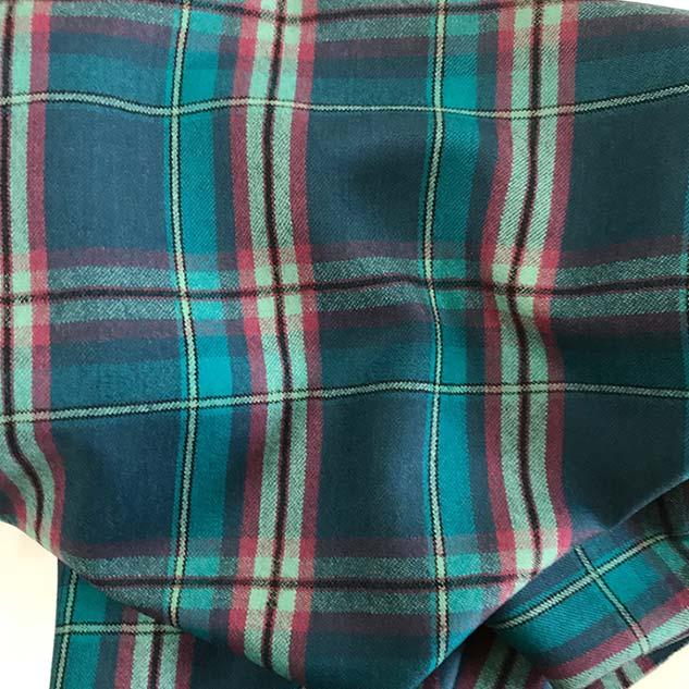 Tissu écossais en laine turquoise