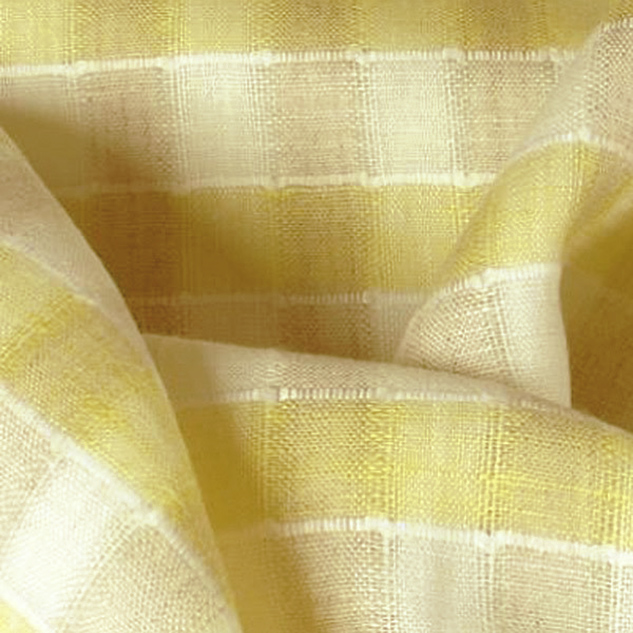 Tissus écossais en lin écru et jaune