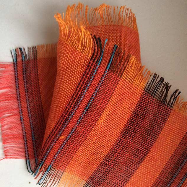 Tissus carreau en lin orange