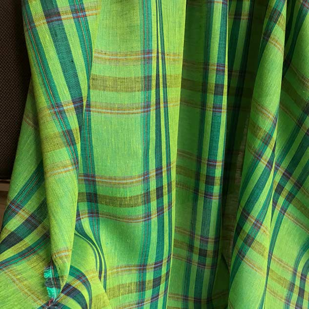 Tissus carreau en lin vert