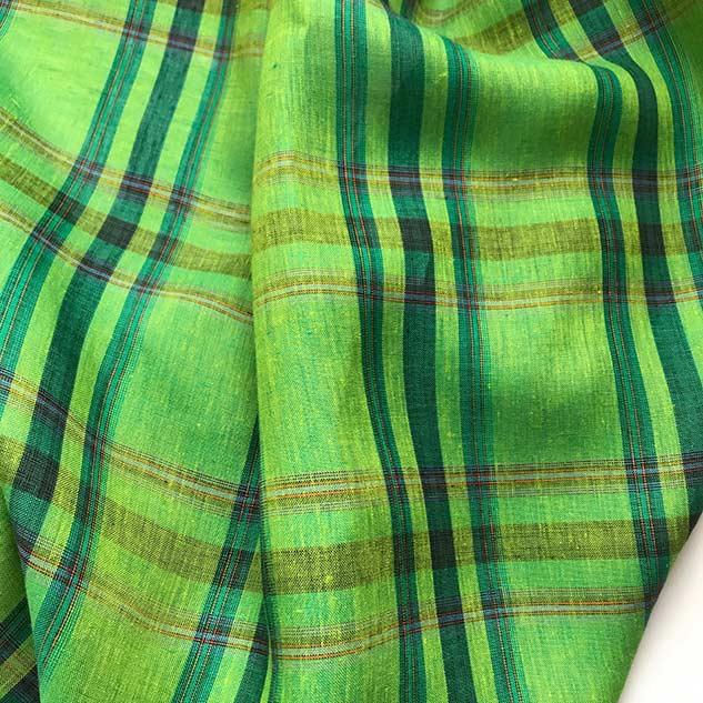 Tissus en lin vert à carreau
