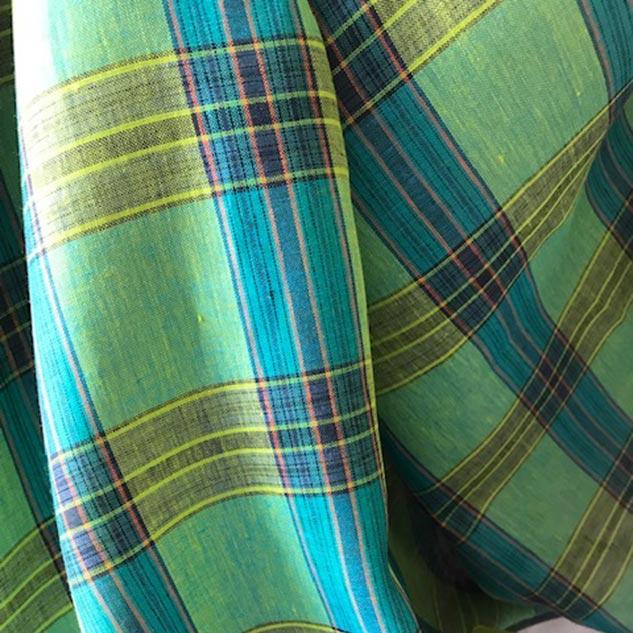 Tissus écossais lin vert