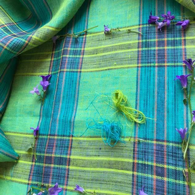 Tissus écossais vert lin style anglais