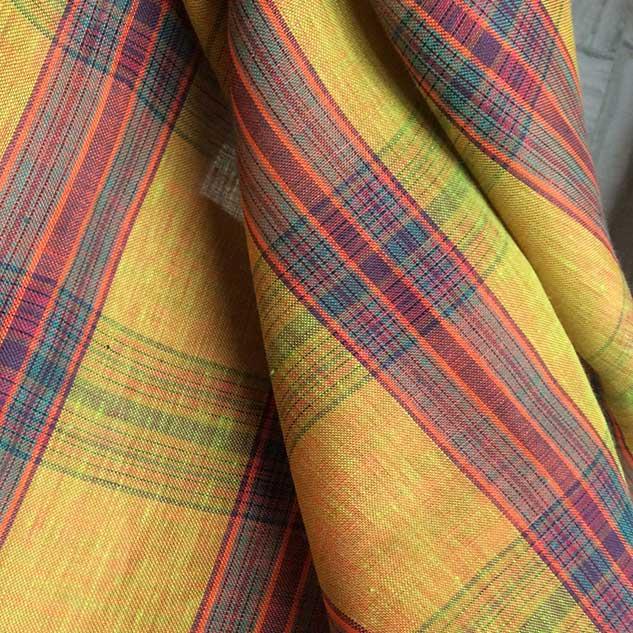 Tissu ecossais jaune orangé Cardailhac