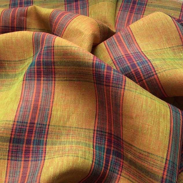Tissus écossais jaune orangé Cardailhac