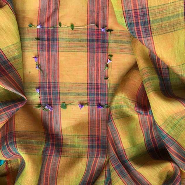 Tissus écossais jaune orangé carreau