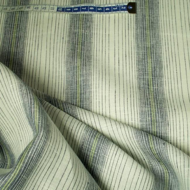 Tissu en lin blanc rayures bleu