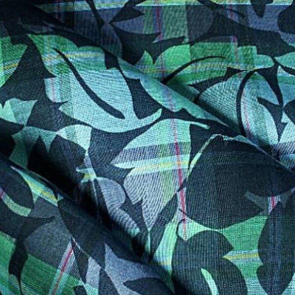 Tissu lin bleu imprimé - tissus au metre - vente de tissus