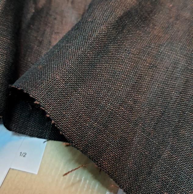 Tissu en lin marron changeant