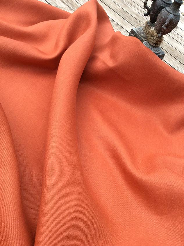 Tissu gabardine lin orange