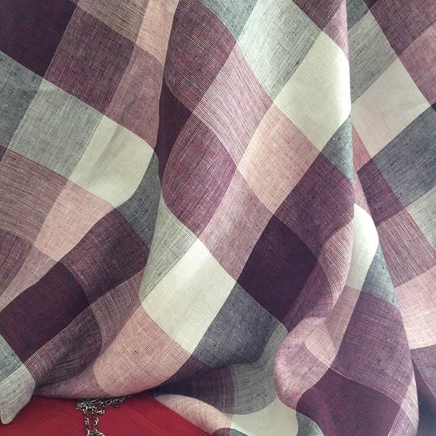tissu grands carreaux