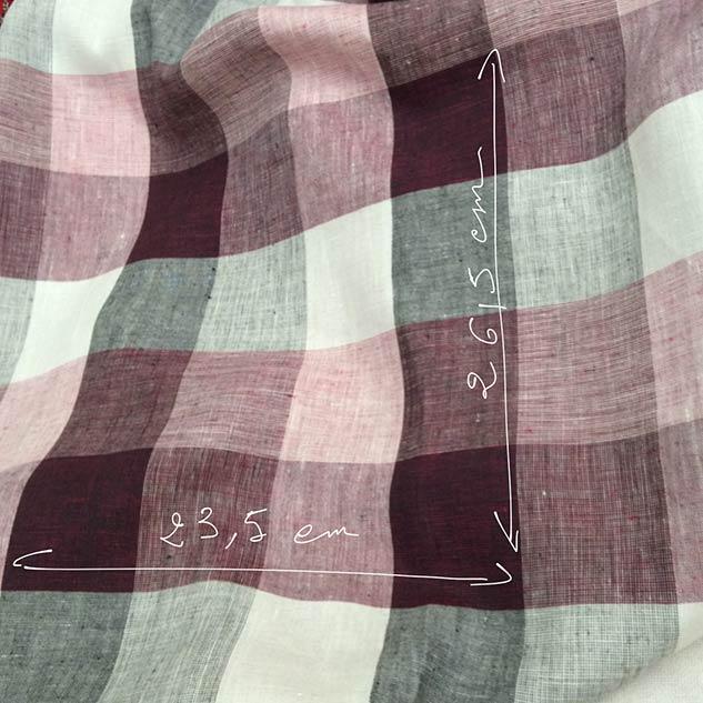 tissu lin à carreaux
