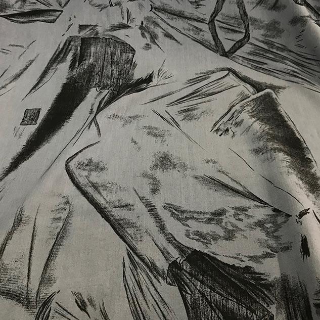 Tissu imprimé gris et noir - tissu d ameublement au metre - achat tissu 7d3a328f95b9