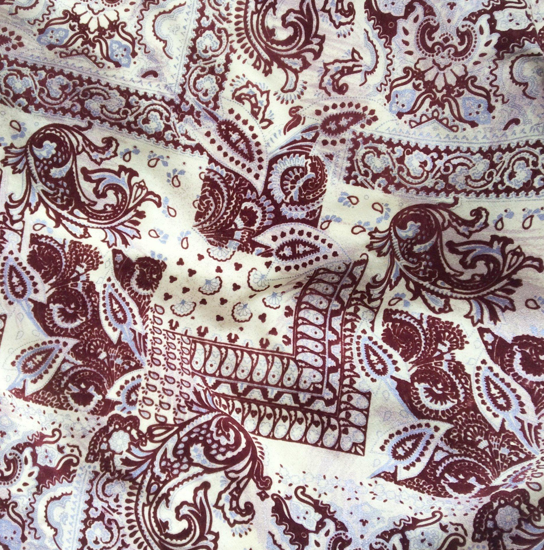 Tissu laine beige imprimé bordeaux, nappe, voilage