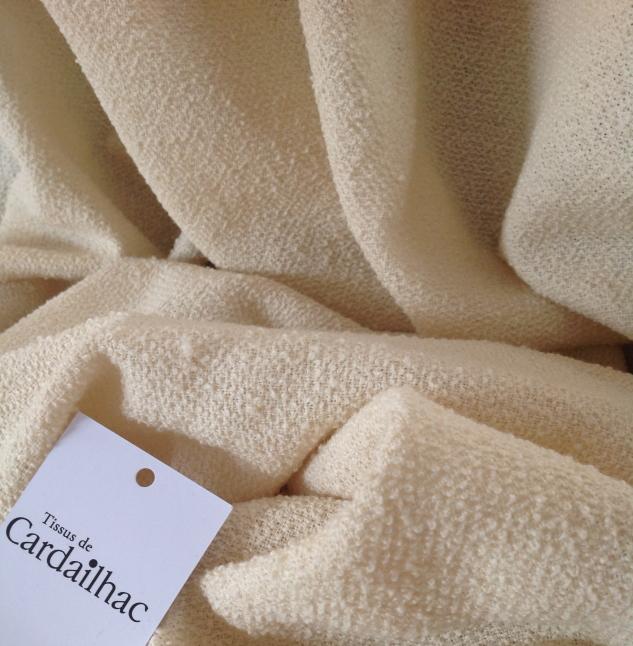 tissu écru laine bouclée cardailhac