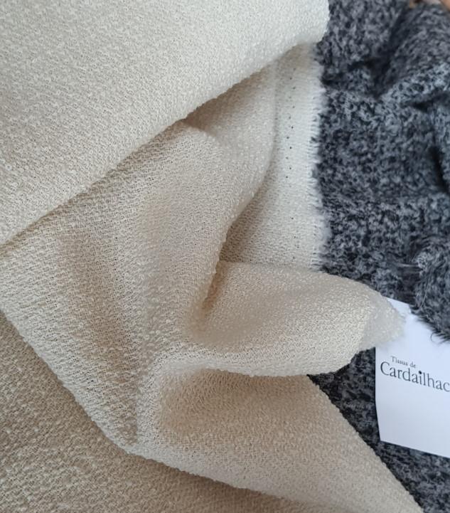 Tissu laine bouclettes écru craie