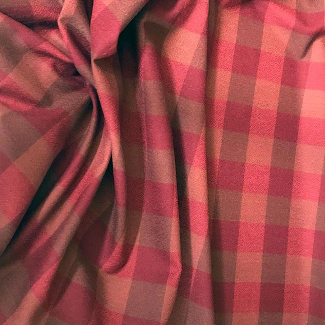 Tissu laine carreaux ameublement bordeaux