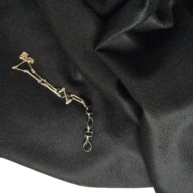 tissu laine noir pour manteau