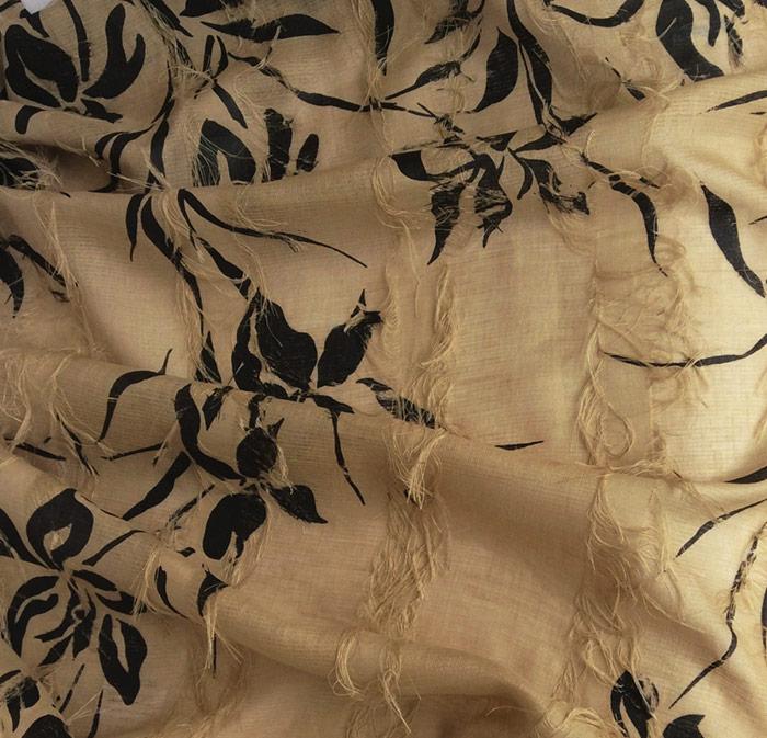 tissu lin frangé