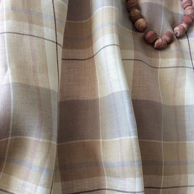 tissu lin au metre beige et gris