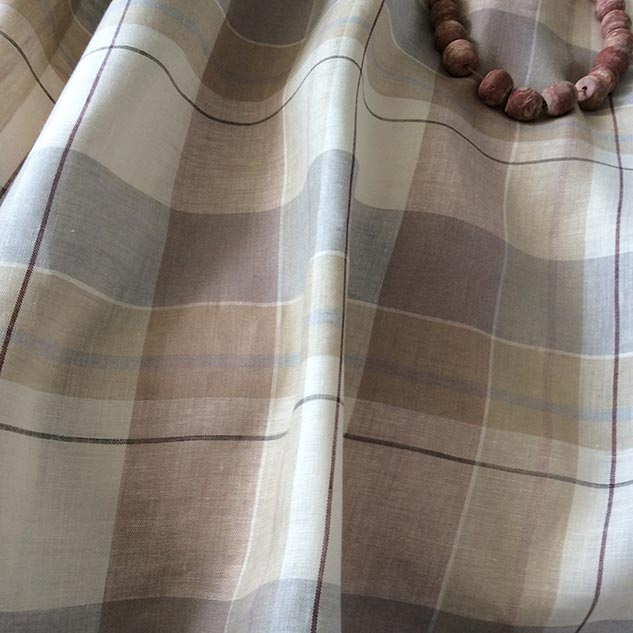 tissu a carreaux beige