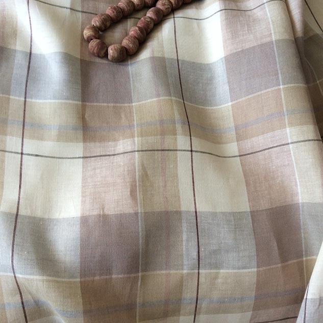 tissu lin beige à carreaux