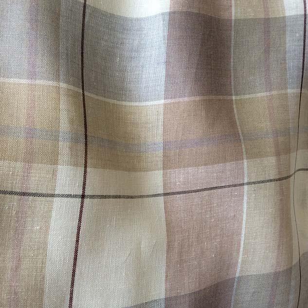 tissu lin au metre beige gris brun