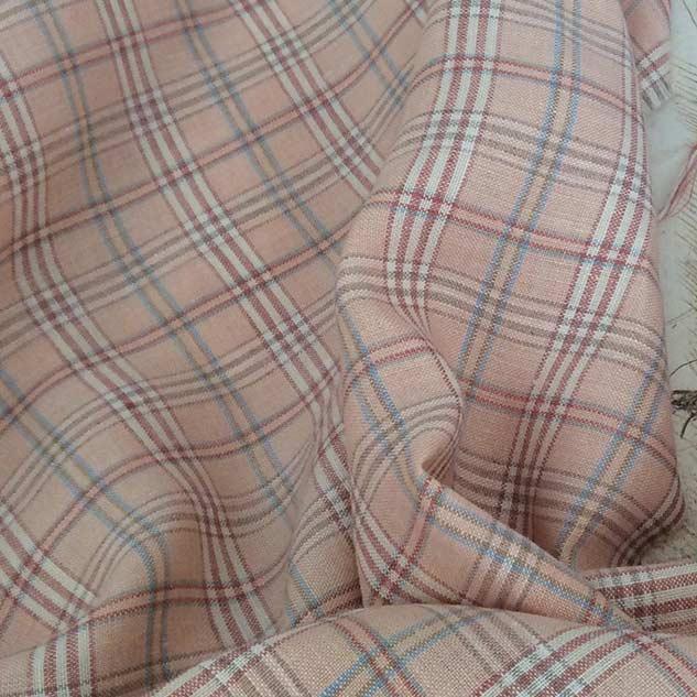 tissu lin rose pastel à carreaux